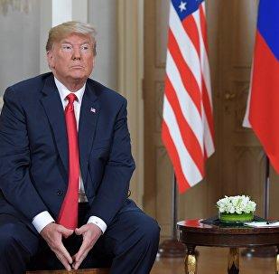 Presidente de Estados Unidos, Donald Trump, durante la reunión con su homólogo ruso, Vladímir Putin