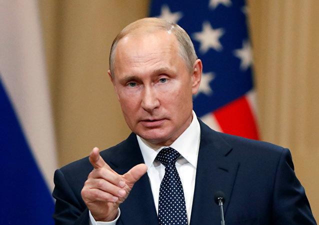 El presidente de Rusia, Vladímir Putin, durante la reunión con su homólogo norteamericano, Donald Trump