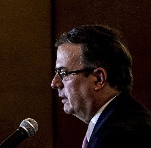 Marcelo Ebrard, secretario de Relaciones Exteriores, ofrece conferencia de prensa tras la reunión con la delegación del Gobierno estadounidense encabezada por Mike Pompeo, secretario de Estado