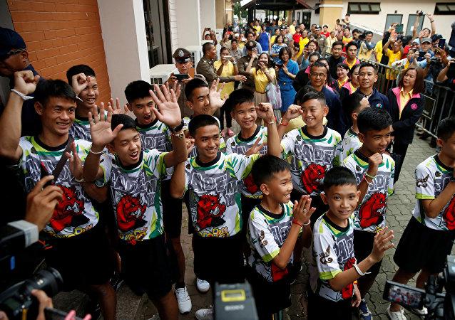 Los niños rescatados de una cueva en Tailandia