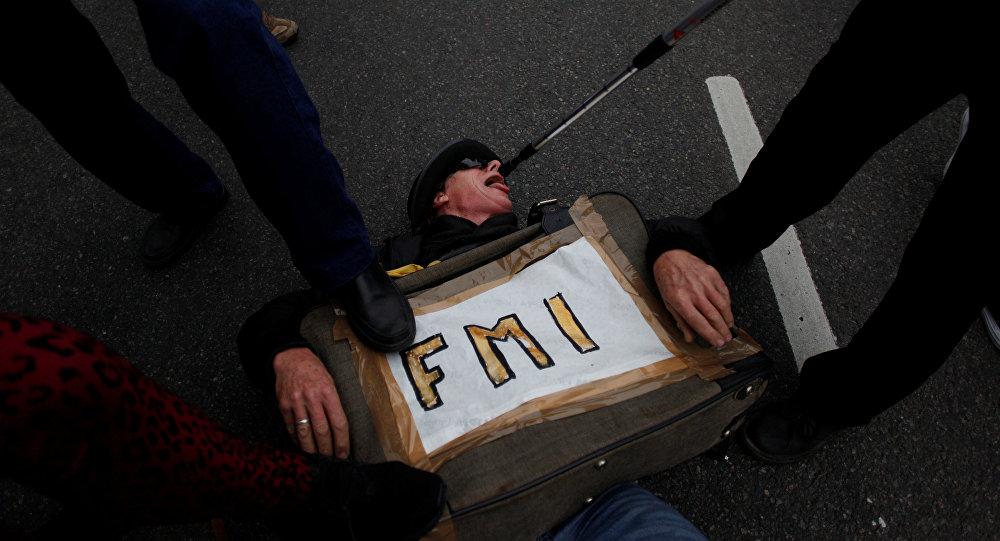 Una protesta contra el FMI en Argentina, el 9 de julio de 2018.