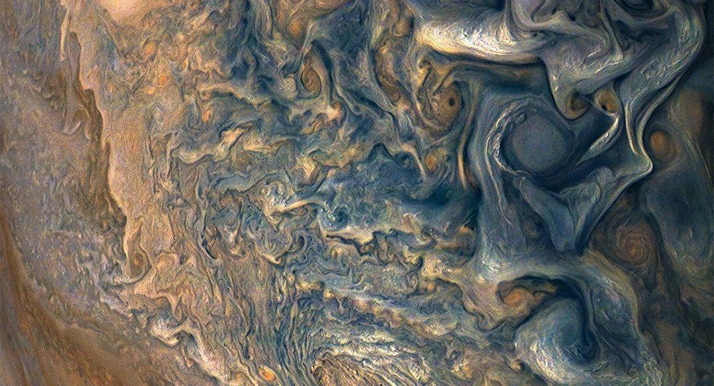 Imágen del planeta Júpiter captado por la sonda Juno