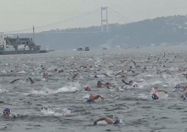 ¡De Asia a Europa a nado! Cientos de personas cruzan el Bósforo