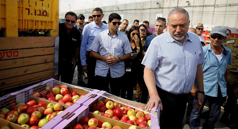 El ministro de Defensa israelí, Avigdor Lieberman, en el paso fronterizo de Kerem Shalom, entre Israel y Gaza