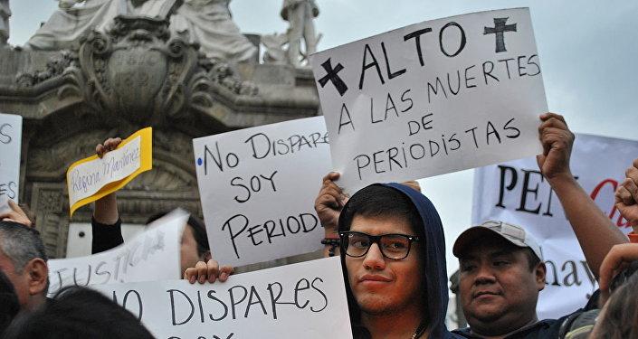 Protesta contra la muerte de periodistas en México