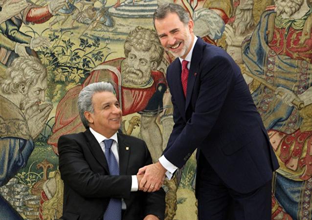 El presidente de Ecuador, Lenín Moreno, con el Rey de España, Felipe VI