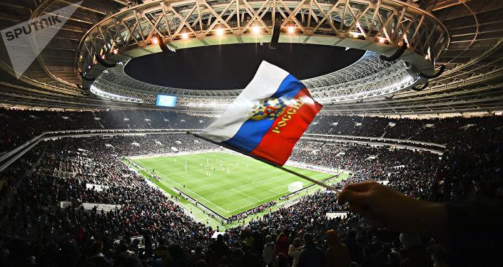 Bandera de Rusia en el estadio Luzhnikí en Moscú