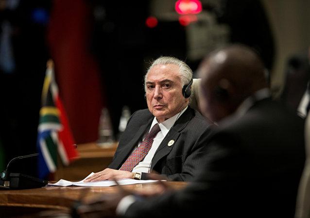 El presidente de Brasil, Michel Temer, en la cumbre de los BRICS