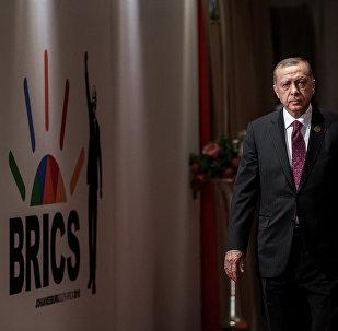 El presidente de Turquía, Recep Tayyip Erdogan, durante la cumbre de los BRICS en Johannesburgo