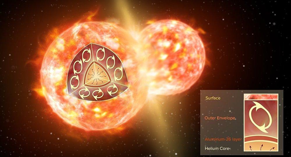Imagen artística de una colisión de dos estrellas