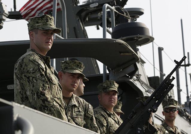 Marineros estadounidenses, foto de archivo