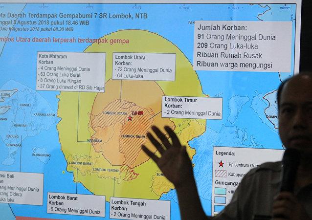 El mapa del lugar del terremoto en Lombok, Indonesia