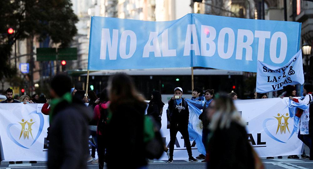 Manifestación contra el aborto en Argentina