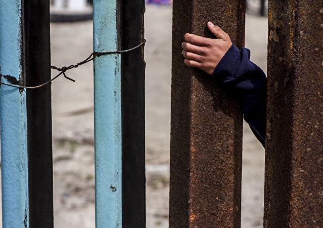 Migrante del lado estadounidense de la frontera con México