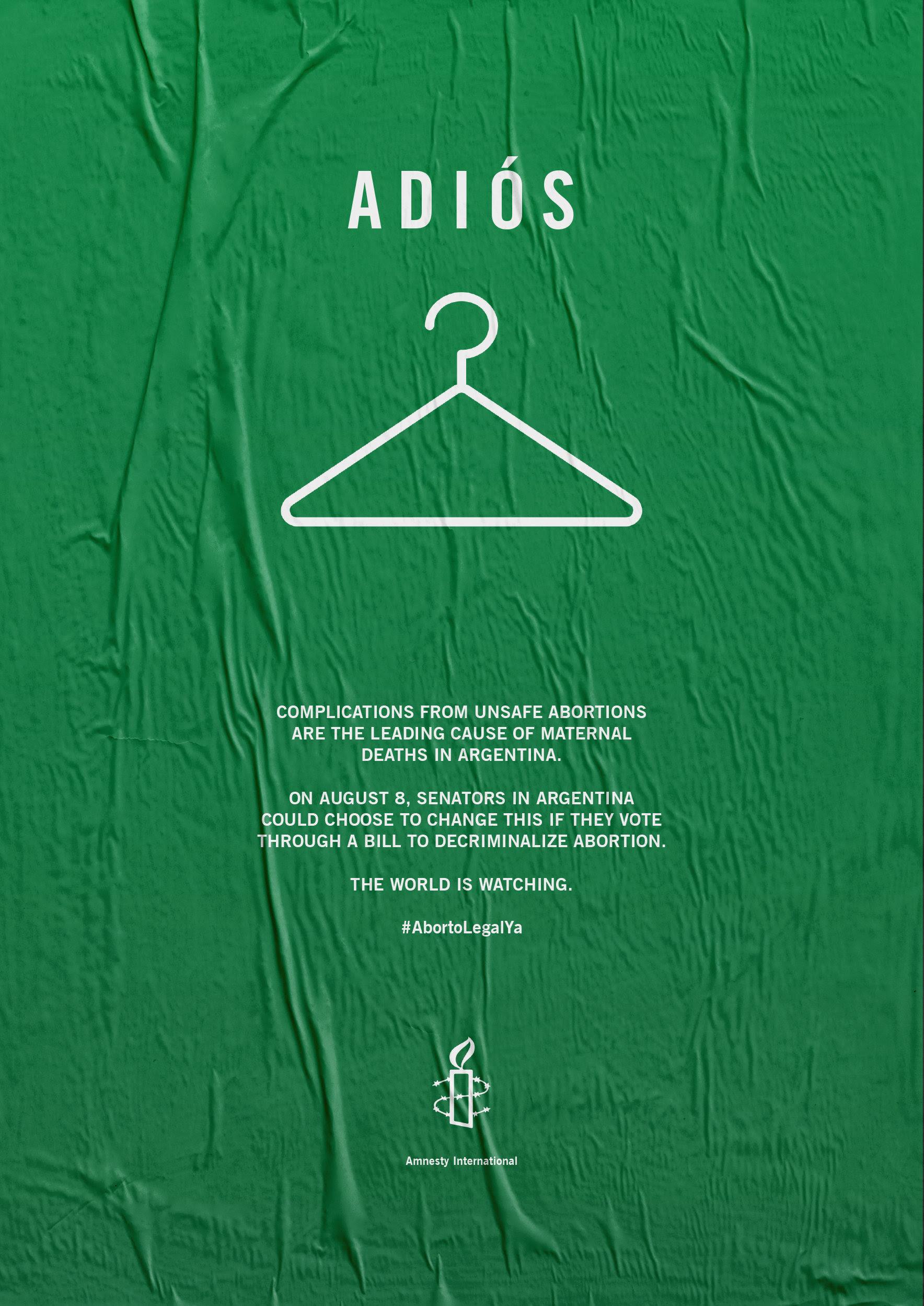 La contratapa del New York Times de Amnistía Internacional por el aborto legal, seguro y gratuito en Argentina