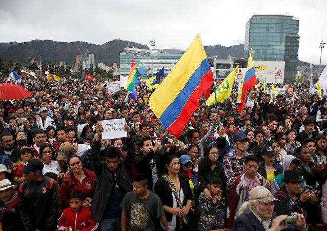 Marcha opositora en Bogotá, Colombia