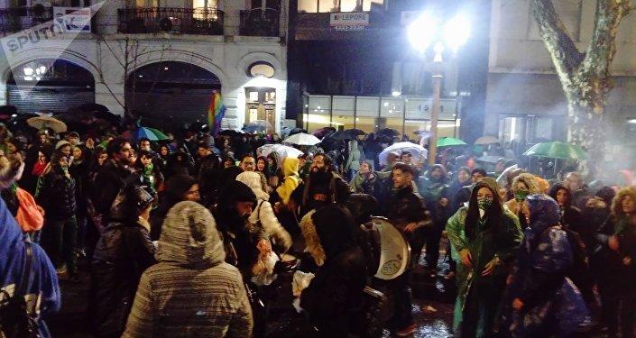 Una manifestación a favor del aborto en Argentina