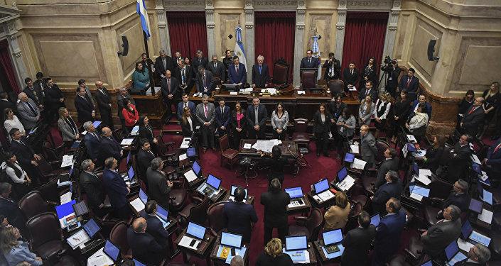 El Senado argentino durante el debate sobre la legalización del aborto