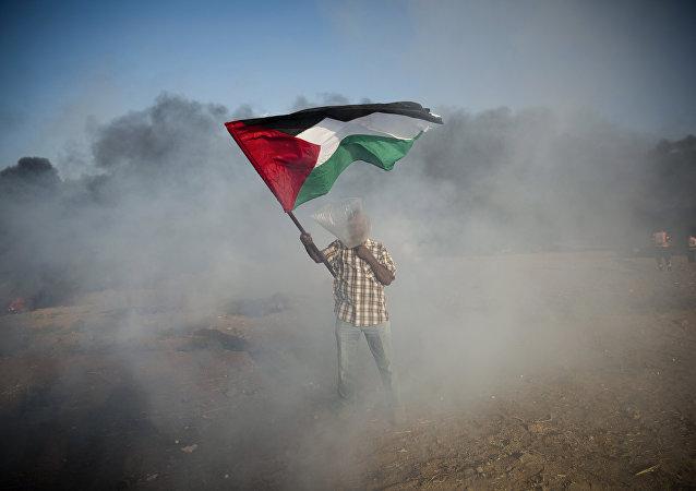 Un palestino con la bandera durante las protestas en Gaza