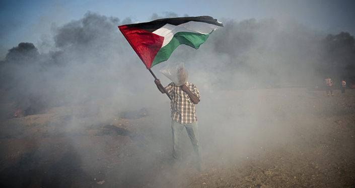 Un palestino con la bandera durante las protestas en Gaza (archivo)