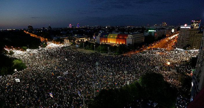 Protestas en Bucarest, capital de Rumanía