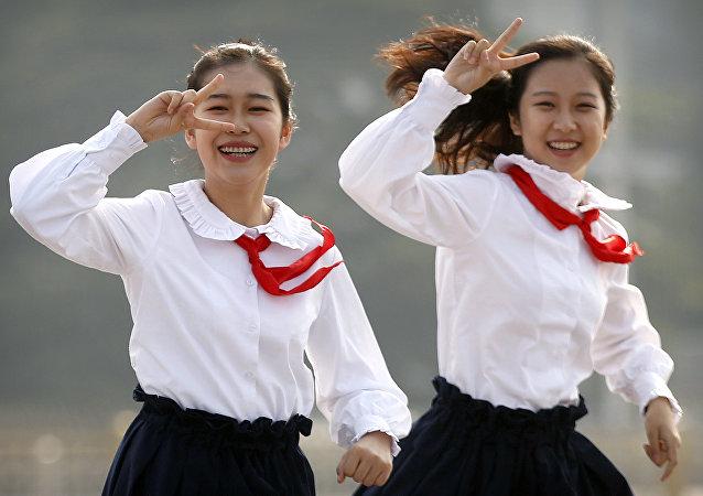 Adolescentes chinas, foto de archivo