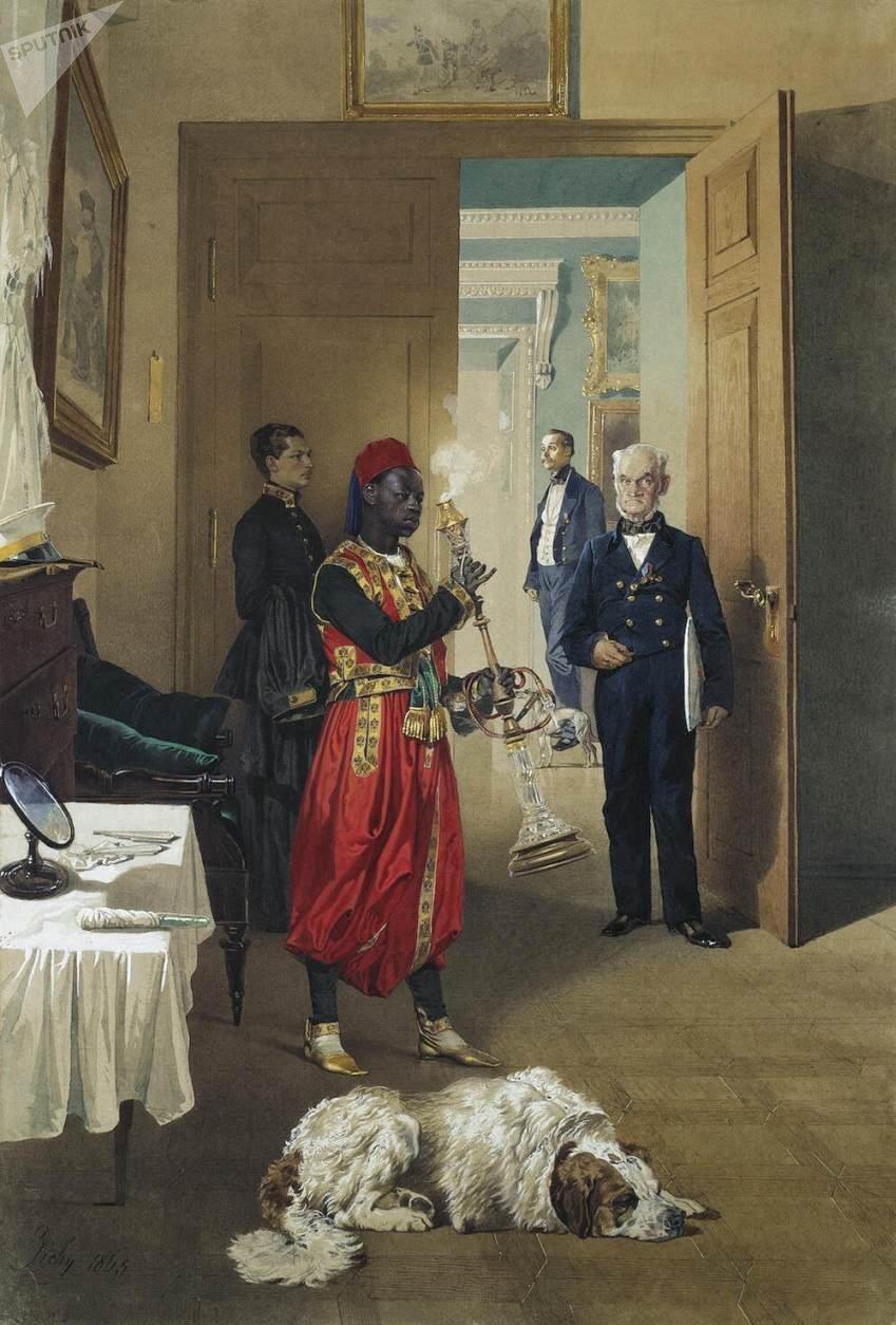 Una pintura de Mihály Zichy con un arap de la Corte Imperial rusa
