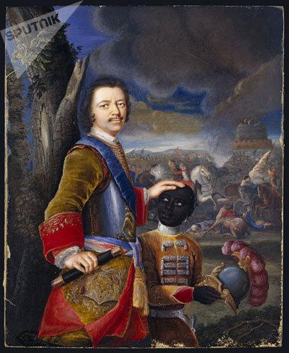 Pedro el Grande con un paje africano (acuarela alemana de 1707)