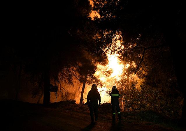 Los bomberos observan el aumento de las llamas durante un incendio forestal, Grecia (archivo)