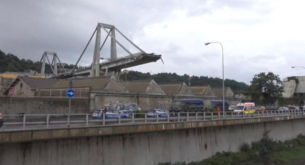 Se derrumba un puente de una autopista en Génova, Italia