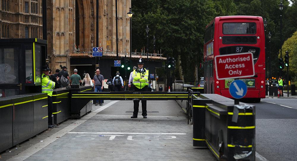 Los agentes de policía frente al Parlamento en Westminster, Londres