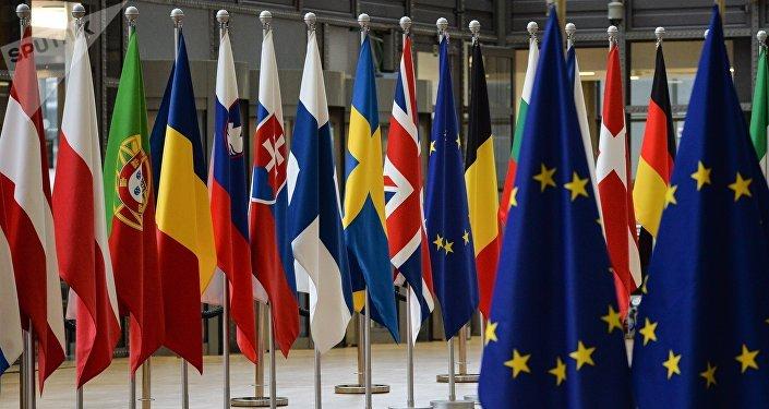 Las banderas de los países miembros de la Unión Europea