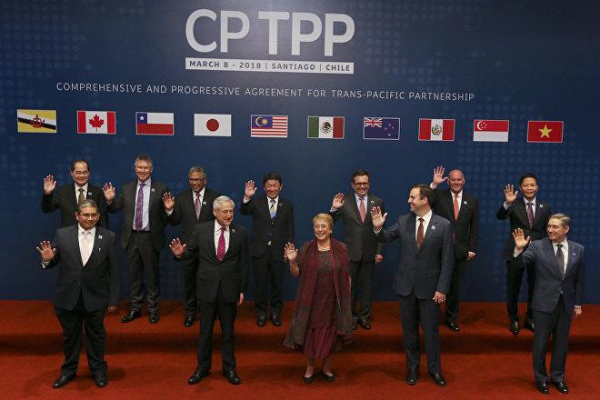 Una vez fuera EEUU, el TPP es integrado por México, Perú, Chile, Canadá, Japón, Australia, Nueva Zelanda, Malasia, Singapur, Vietnam y Brunéi