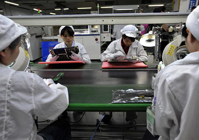 Una fábrica de ordenadores, foto de archivo
