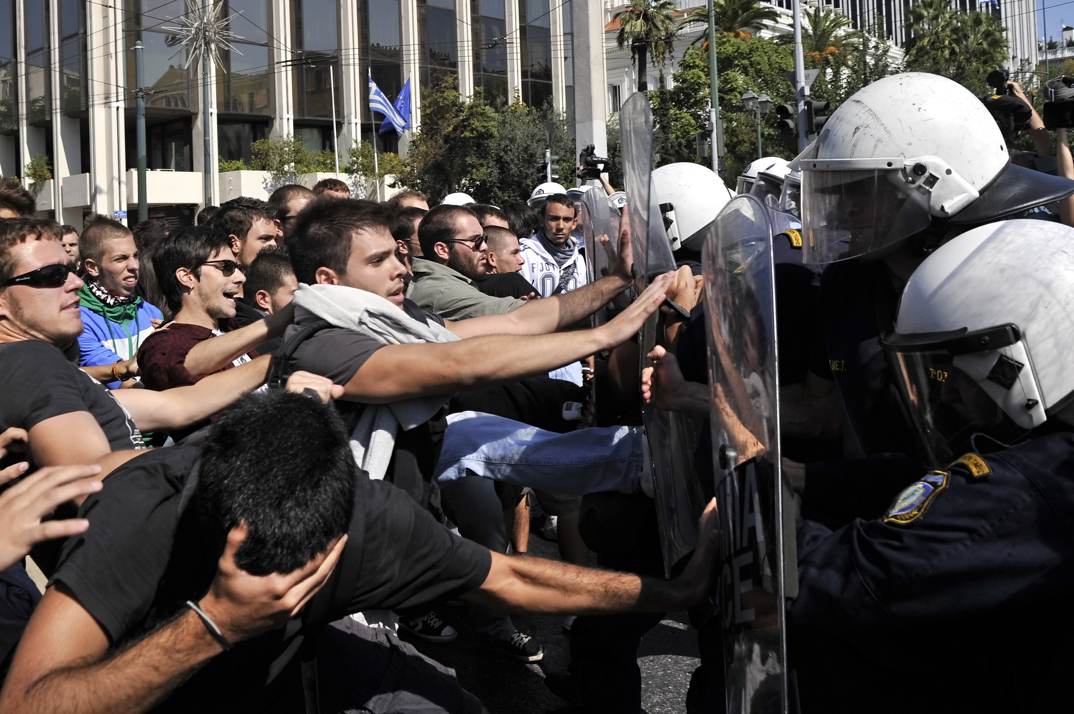 Una demostración estudiantil contra la reducción de los gastos para la educación, Atenas, 2011