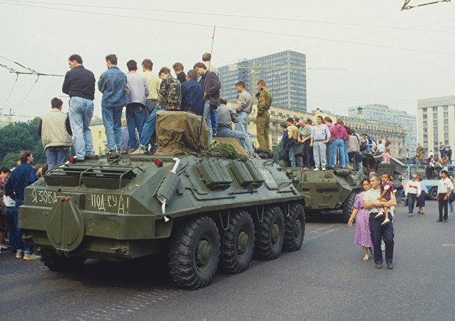 Imágenes de Moscú durante el intento de golpe de agosto en 1991