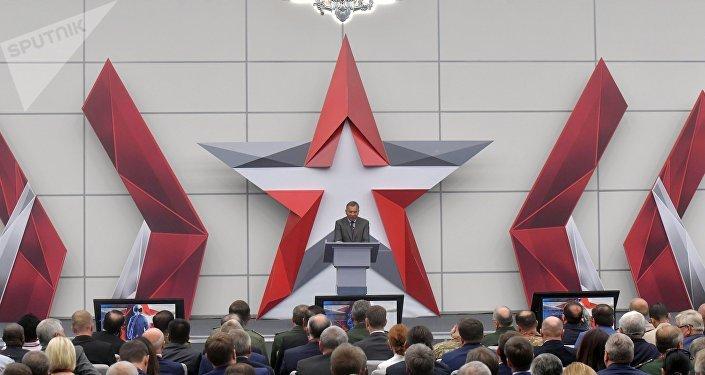 Yuri Borísov, viceprimer ministro ruso, durante el Foro Internacional Técnico Militar Army 2018