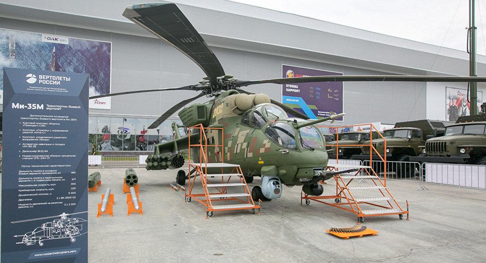Uno de los helicópteros rusos expuestos en Army 2018