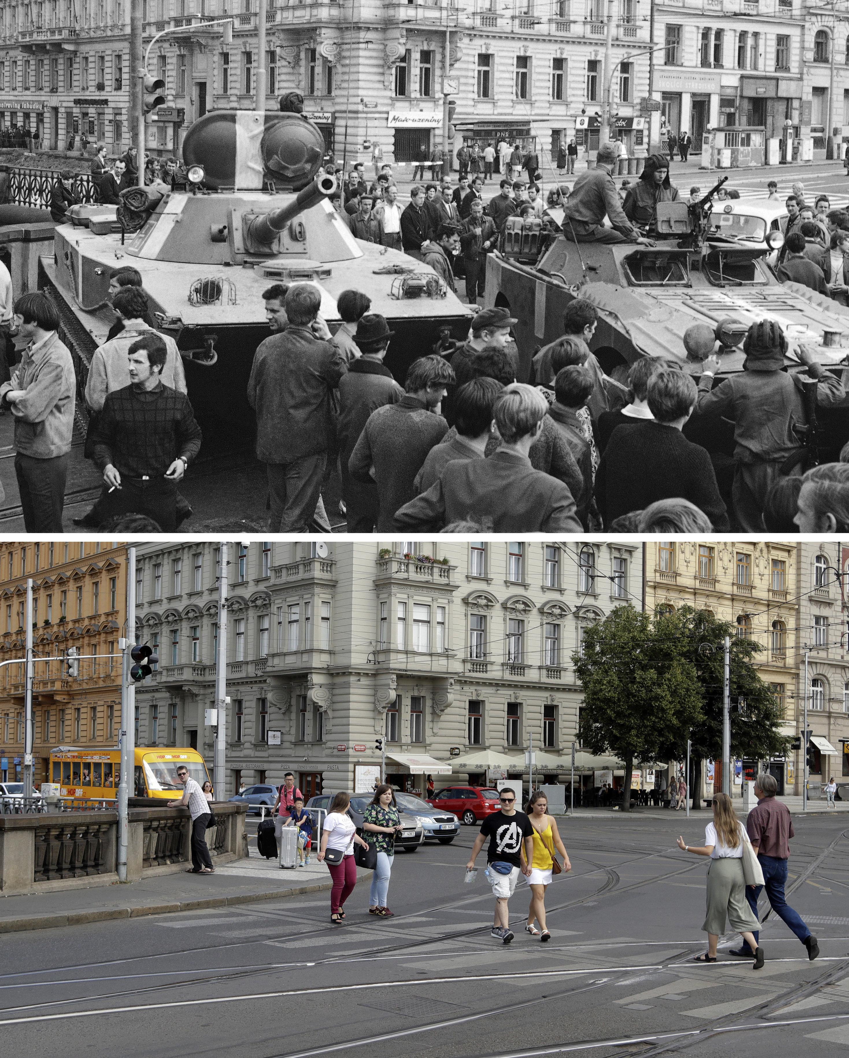 En la foto superior, tanques soviéticos en una calle de Praga el 21 de agosto de 1968. En la foto inferior, la misma calle actualmente.