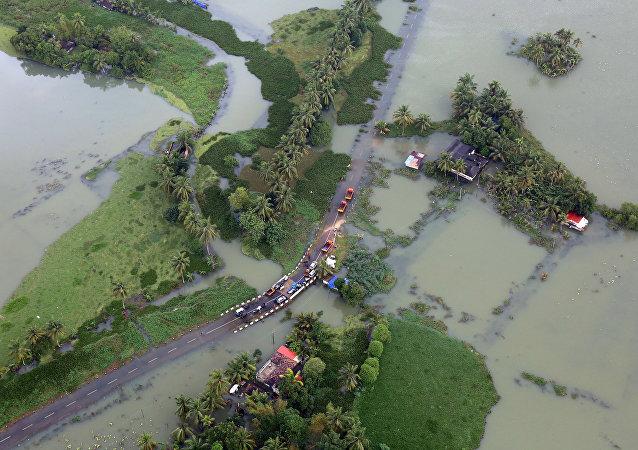 Inundación en Kerala, la India