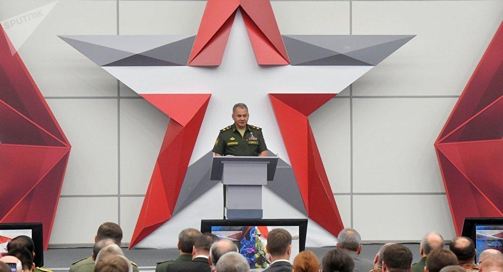 Serguéi Shoigú, el ministro de Defensa ruso, en el Foro Internacional Técnico Militar Army 2018