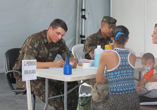 El puesto fronterizo de Pacaraima, estado de Roraima, Brasil