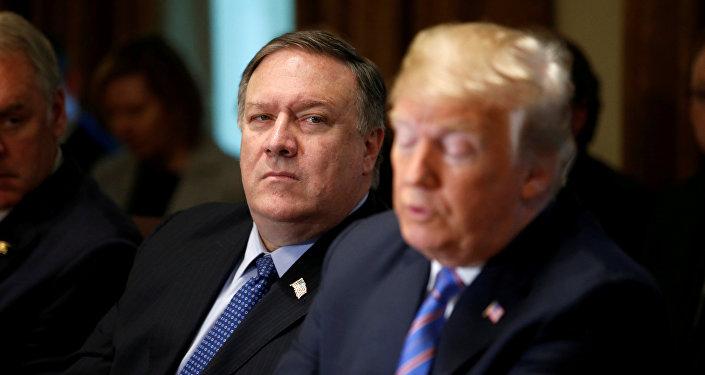 Secretario de Estado de EEUU, Mike Pompeo, y el presidente de EEUU, Donald Trump
