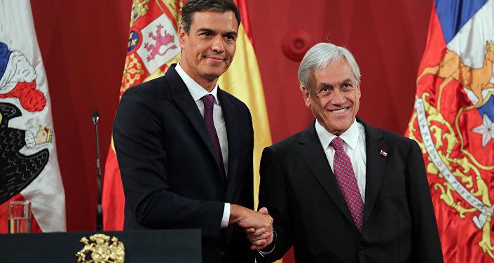 El presidente del Gobierno español, Pedro Sánchez, y el presidente de Chile, Sebastián Piñera.