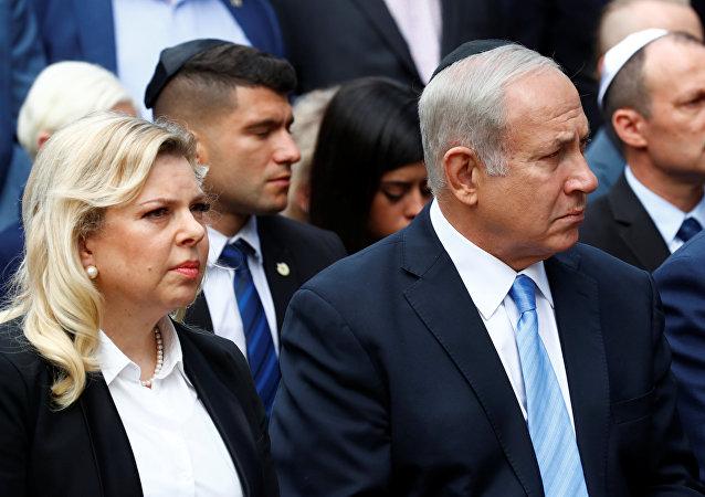 Sara Netanyahu con su esposo, el primer ministro de Israel, Benjamín Netanyahu