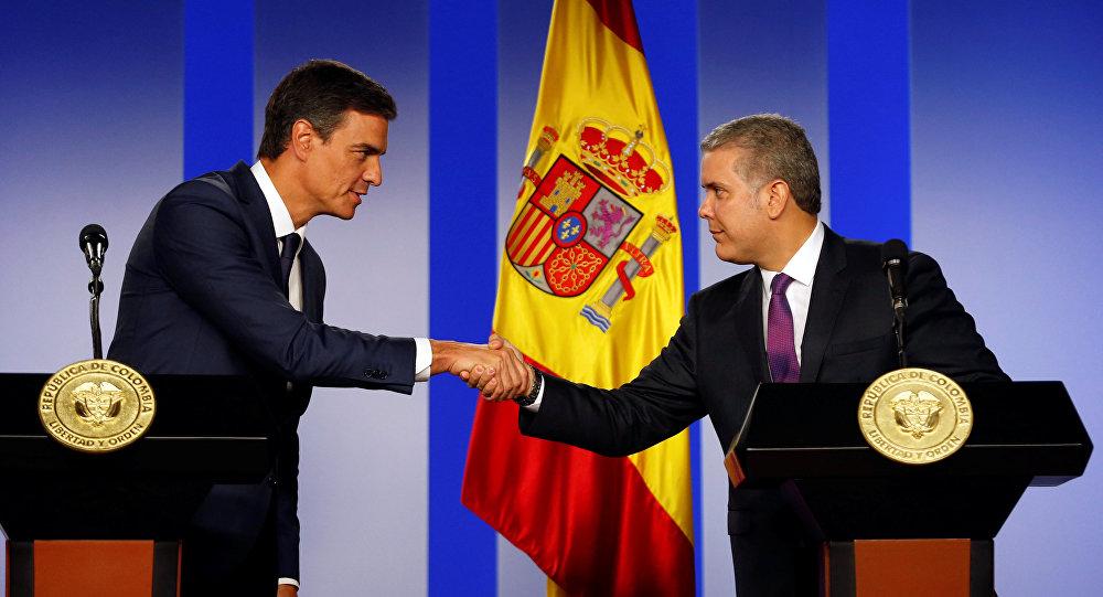 Pedro Sánchez, jefe del Gobierno de España, y Iván Duque, presidente de Colombia
