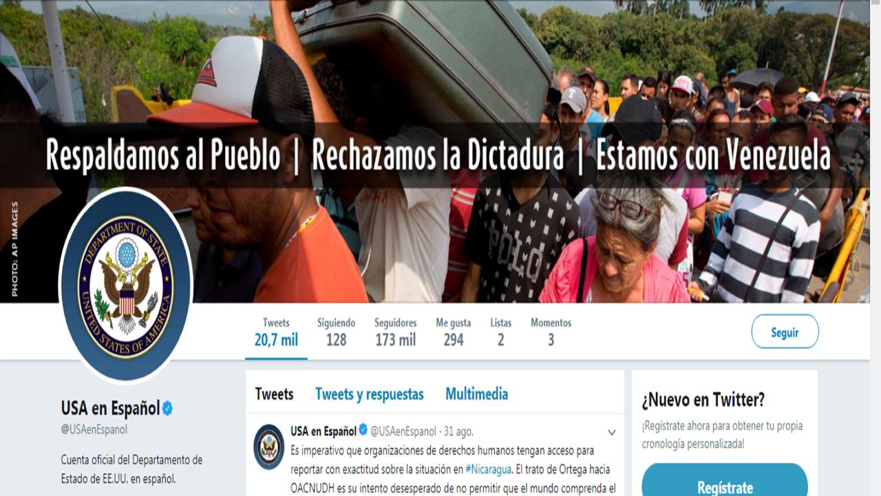 La cuenta del Departamento de Estado de EEUU en español