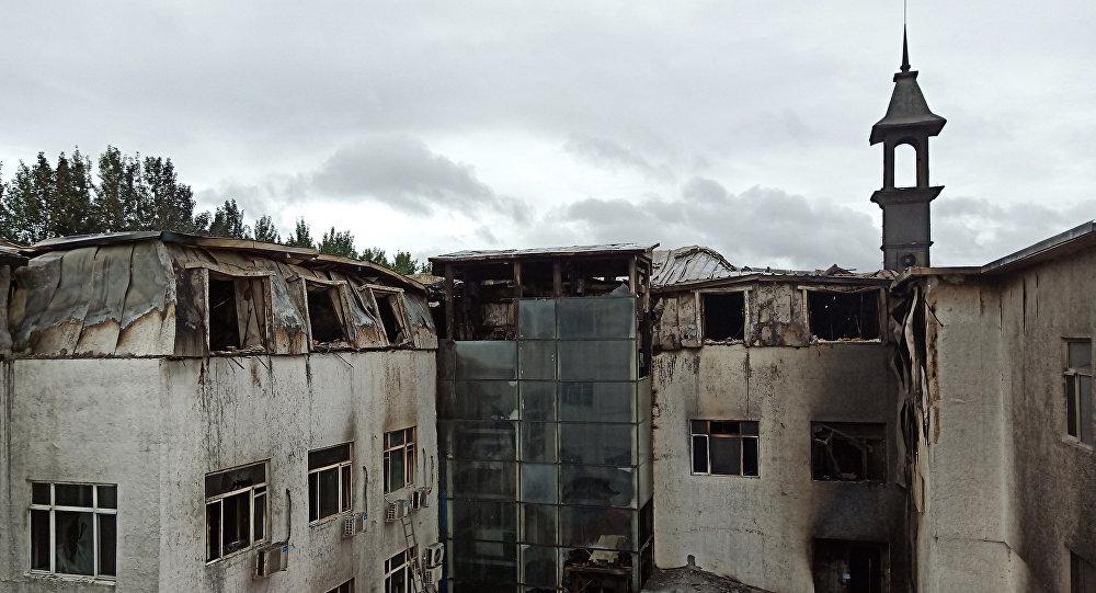La vista del hotel Harbin tras el incendio