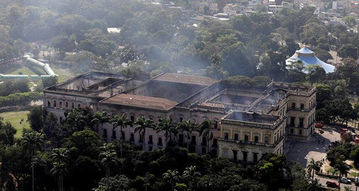 El Museo Nacional de Río de Janeiro tras incendio