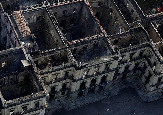 Museo Nacional de Río Janeiro tras incendio